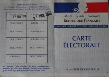 Carte d'électeur second tour