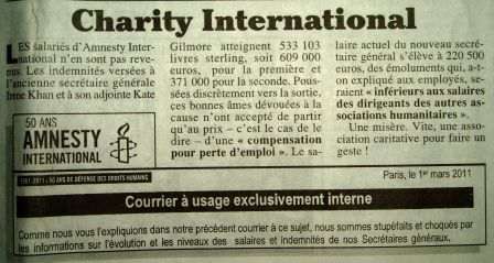 Canard enchainé 23 mars 2011 Charity international